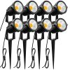ZUCKEO 5W LED Landscape Lights 12V 24V Garden Lights Waterproof Warm White Walls Trees Flags Outdoor Landscape Spotlights With Stakes 8 Pack 0 100x100
