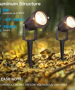 ZUCKEO 5W LED Landscape Lights 12V 24V Garden Lights Waterproof Warm White Walls Trees Flags Outdoor Landscape Spotlights With Stakes 8 Pack 0 2 300x360