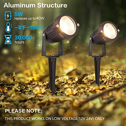 ZUCKEO 5W LED Landscape Lights 12V 24V Garden Lights Waterproof Warm White Walls Trees Flags Outdoor Landscape Spotlights With Stakes 8 Pack 0 2