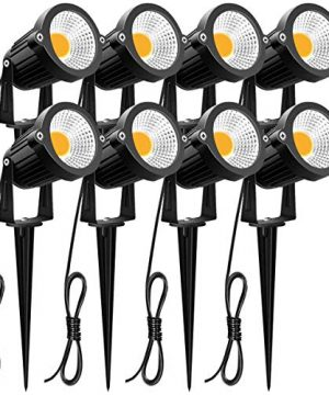 ZUCKEO 5W LED Landscape Lights 12V 24V Garden Lights Waterproof Warm White Walls Trees Flags Outdoor Landscape Spotlights With Stakes 8 Pack 0 300x360