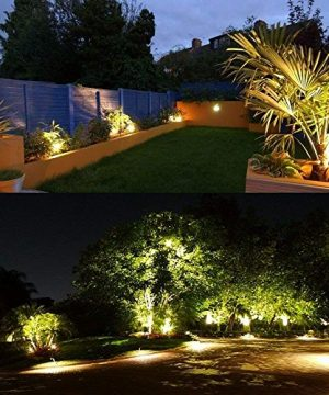 ZUCKEO 5W LED Landscape Lights 12V 24V Garden Lights Waterproof Warm White Walls Trees Flags Outdoor Landscape Spotlights With Stakes 8 Pack 0 4 300x360