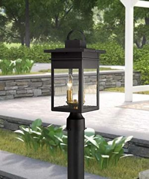 Zeyu 2 Light Outdoor Post Lantern Lamp 17 Inches Exterior Post Light Fixtures In Black And Gold Finish With Seeded Glass 20072P2 0 0 300x360