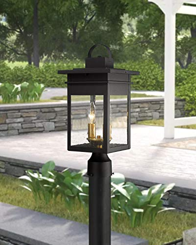 Zeyu 2 Light Outdoor Post Lantern Lamp 17 Inches Exterior Post Light Fixtures In Black And Gold Finish With Seeded Glass 20072P2 0 0