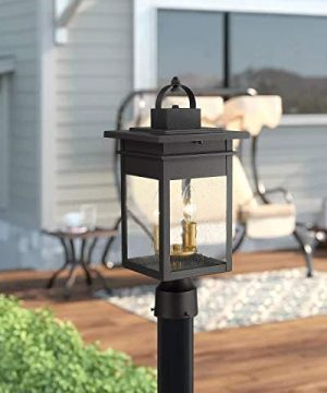 Zeyu 2 Light Outdoor Post Lantern Lamp 17 Inches Exterior Post Light Fixtures In Black And Gold Finish With Seeded Glass 20072P2 0 1 300x360