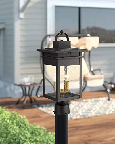 Zeyu 2 Light Outdoor Post Lantern Lamp 17 Inches Exterior Post Light Fixtures In Black And Gold Finish With Seeded Glass 20072P2 0 1