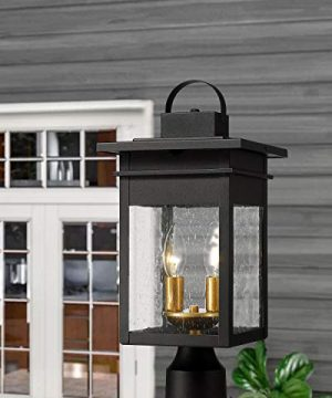 Zeyu 2 Light Outdoor Post Lantern Lamp 17 Inches Exterior Post Light Fixtures In Black And Gold Finish With Seeded Glass 20072P2 0 2 300x360