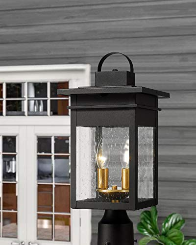 Zeyu 2 Light Outdoor Post Lantern Lamp 17 Inches Exterior Post Light Fixtures In Black And Gold Finish With Seeded Glass 20072P2 0 2