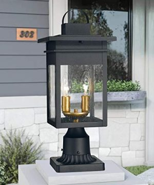 Zeyu 2 Light Outdoor Post Lantern Lamp 17 Inches Exterior Post Light Fixtures In Black And Gold Finish With Seeded Glass 20072P2 0 3 300x360