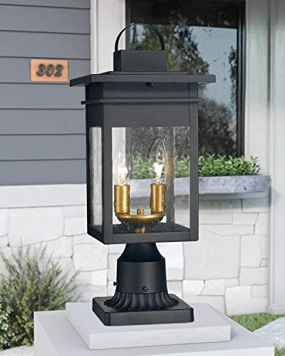 Zeyu 2 Light Outdoor Post Lantern Lamp 17 Inches Exterior Post Light Fixtures In Black And Gold Finish With Seeded Glass 20072P2 0 3