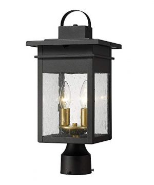 Zeyu 2 Light Outdoor Post Lantern Lamp 17 Inches Exterior Post Light Fixtures In Black And Gold Finish With Seeded Glass 20072P2 0 300x360