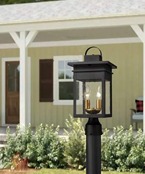 Zeyu 2 Light Outdoor Post Lantern Lamp 17 Inches Exterior Post Light Fixtures In Black And Gold Finish With Seeded Glass 20072P2 0 4 300x360