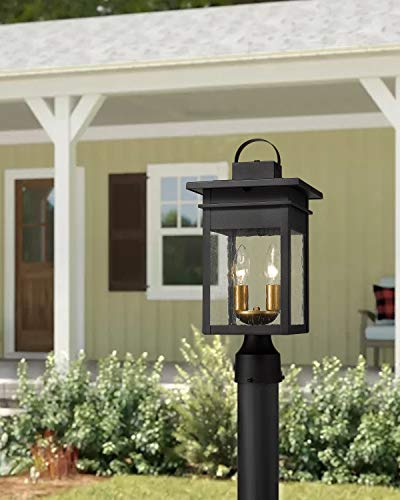 Zeyu 2 Light Outdoor Post Lantern Lamp 17 Inches Exterior Post Light Fixtures In Black And Gold Finish With Seeded Glass 20072P2 0 4