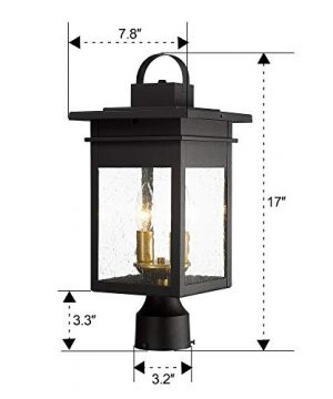 Zeyu 2 Light Outdoor Post Lantern Lamp 17 Inches Exterior Post Light Fixtures In Black And Gold Finish With Seeded Glass 20072P2 0 5 300x360