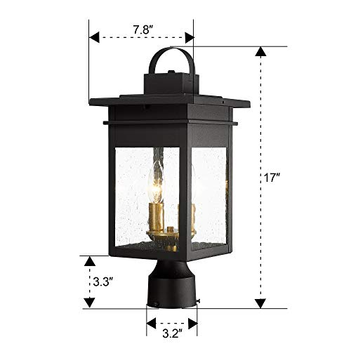 Zeyu 2 Light Outdoor Post Lantern Lamp 17 Inches Exterior Post Light Fixtures In Black And Gold Finish With Seeded Glass 20072P2 0 5