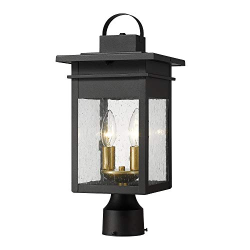 Zeyu 2 Light Outdoor Post Lantern Lamp 17 Inches Exterior Post Light Fixtures In Black And Gold Finish With Seeded Glass 20072P2 0