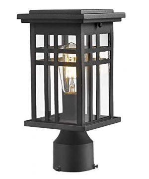 Zeyu Exterior Post Light Outdoor Pole Lantern Pillar Light Fixture With Clear Glass Shade And Black Finish 20068 P BK 0 300x360