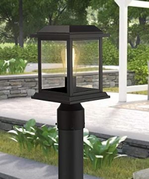 Zeyu Outdoor Post Light 12 Inch Exterior Post Lighting Fixture Pole Lantern Clear Glass Shade And Black Finish 0409 P BK 0 1 300x360