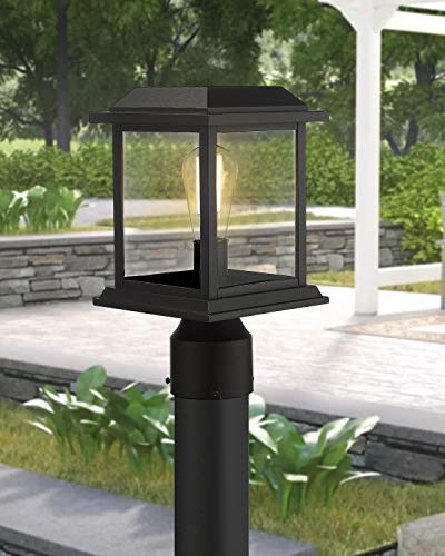 Zeyu Outdoor Post Light 12 Inch Exterior Post Lighting Fixture Pole Lantern Clear Glass Shade And Black Finish 0409 P BK 0 1