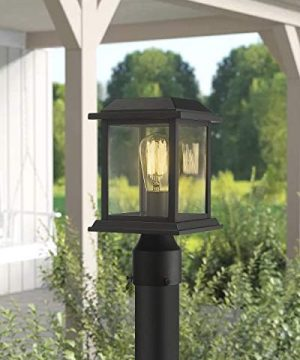 Zeyu Outdoor Post Light 12 Inch Exterior Post Lighting Fixture Pole Lantern Clear Glass Shade And Black Finish 0409 P BK 0 2 300x360