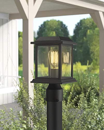 Zeyu Outdoor Post Light 12 Inch Exterior Post Lighting Fixture Pole Lantern Clear Glass Shade And Black Finish 0409 P BK 0 2