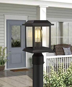 Zeyu Outdoor Post Light 12 Inch Exterior Post Lighting Fixture Pole Lantern Clear Glass Shade And Black Finish 0409 P BK 0 3 300x360