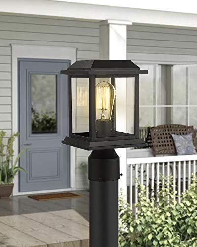 Zeyu Outdoor Post Light 12 Inch Exterior Post Lighting Fixture Pole Lantern Clear Glass Shade And Black Finish 0409 P BK 0 3