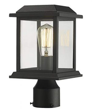 Zeyu Outdoor Post Light 12 Inch Exterior Post Lighting Fixture Pole Lantern Clear Glass Shade And Black Finish 0409 P BK 0 300x360
