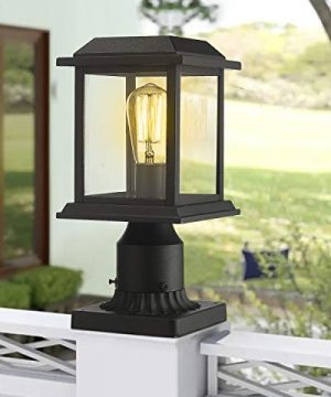 Zeyu Outdoor Post Light 12 Inch Exterior Post Lighting Fixture Pole Lantern Clear Glass Shade And Black Finish 0409 P BK 0 4 300x360