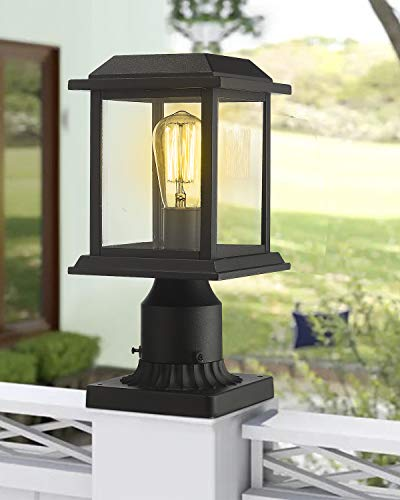 Zeyu Outdoor Post Light 12 Inch Exterior Post Lighting Fixture Pole Lantern Clear Glass Shade And Black Finish 0409 P BK 0 4