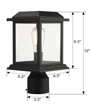 Zeyu Outdoor Post Light 12 Inch Exterior Post Lighting Fixture Pole Lantern Clear Glass Shade And Black Finish 0409 P BK 0 5 300x360