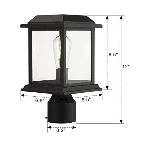 Zeyu Outdoor Post Light 12 Inch Exterior Post Lighting Fixture Pole Lantern Clear Glass Shade And Black Finish 0409 P BK 0 5