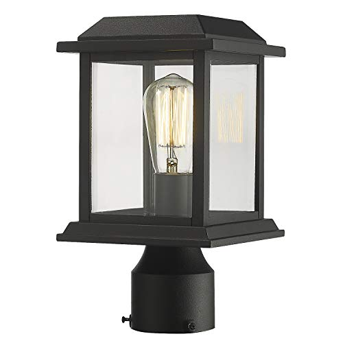 Zeyu Outdoor Post Light 12 Inch Exterior Post Lighting Fixture Pole Lantern Clear Glass Shade And Black Finish 0409 P BK 0