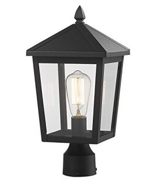 Zeyu Outdoor Post Light 16 Inch Exterior Pole Light Pillar Lantern With Clear Glass Shade And Black Finish 20076P 0 300x360