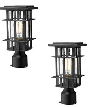 Zeyu Outdoor Post Light 2 Pack Exterior Post Mount Lamp Lantern 12 Inch For Patio Garden Seeded Glass Shade And Black Finish 20058P 2PK BK 0 300x360
