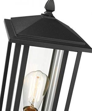 Zeyu Outdoor Post Light Exterior Pole Lantern Lighting Fixture With Clear Glass Shade And Black Finish 1951 P BK 0 0 300x360