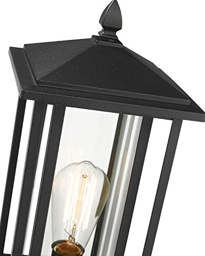 Zeyu Outdoor Post Light Exterior Pole Lantern Lighting Fixture With Clear Glass Shade And Black Finish 1951 P BK 0 0