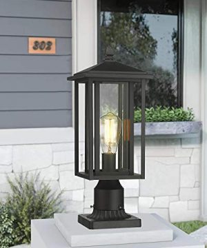 Zeyu Outdoor Post Light Exterior Pole Lantern Lighting Fixture With Clear Glass Shade And Black Finish 1951 P BK 0 1 300x360