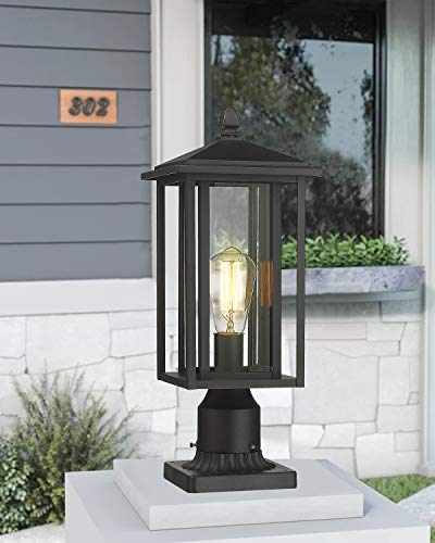 Zeyu Outdoor Post Light Exterior Pole Lantern Lighting Fixture With Clear Glass Shade And Black Finish 1951 P BK 0 1