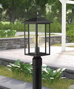 Zeyu Outdoor Post Light Exterior Pole Lantern Lighting Fixture With Clear Glass Shade And Black Finish 1951 P BK 0 2 300x360