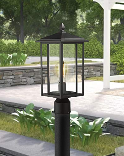 Zeyu Outdoor Post Light Exterior Pole Lantern Lighting Fixture With Clear Glass Shade And Black Finish 1951 P BK 0 2
