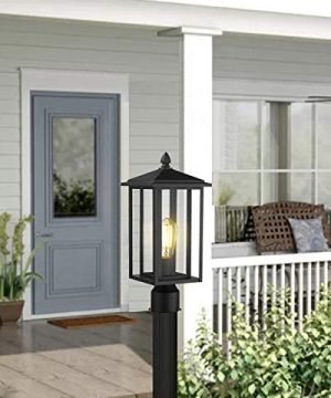 Zeyu Outdoor Post Light Exterior Pole Lantern Lighting Fixture With Clear Glass Shade And Black Finish 1951 P BK 0 3 300x360