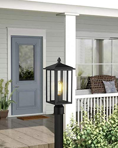 Zeyu Outdoor Post Light Exterior Pole Lantern Lighting Fixture With Clear Glass Shade And Black Finish 1951 P BK 0 3