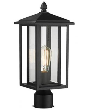Zeyu Outdoor Post Light Exterior Pole Lantern Lighting Fixture With Clear Glass Shade And Black Finish 1951 P BK 0 300x360