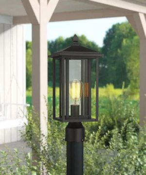 Zeyu Outdoor Post Light Exterior Pole Lantern Lighting Fixture With Clear Glass Shade And Black Finish 1951 P BK 0 4 300x360