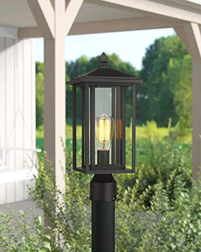 Zeyu Outdoor Post Light Exterior Pole Lantern Lighting Fixture With Clear Glass Shade And Black Finish 1951 P BK 0 4