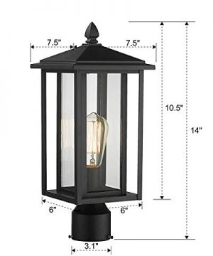 Zeyu Outdoor Post Light Exterior Pole Lantern Lighting Fixture With Clear Glass Shade And Black Finish 1951 P BK 0 5 300x360
