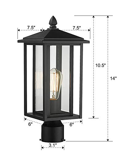Zeyu Outdoor Post Light Exterior Pole Lantern Lighting Fixture With Clear Glass Shade And Black Finish 1951 P BK 0 5