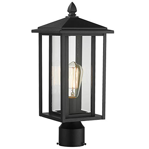 Zeyu Outdoor Post Light Exterior Pole Lantern Lighting Fixture With Clear Glass Shade And Black Finish 1951 P BK 0