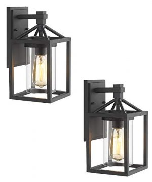 Zeyu Outdoor Wall Light 2 Pack Exterior Wall Sconce Lantern Lighting For Patio Black Finish With Clear Glass Shade ZY03 W 2PK BK 0 300x360