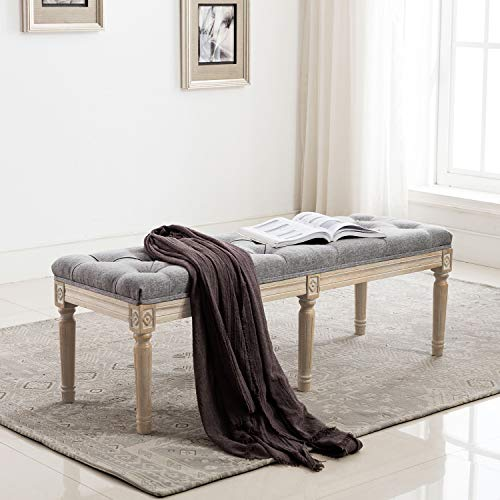 Chairus Fabric Upholstered Entryway Ottoman Bench Classic Bedroom Bench With Rustic Wood Legs Gray Farmhouse Goals